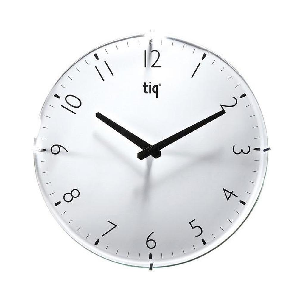 "TIQ 12"" Round Glass Wall Clock, White"