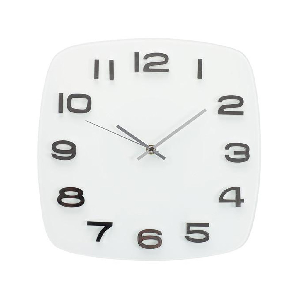 "TIQ 12"" Square Glass Wall Clock, White"