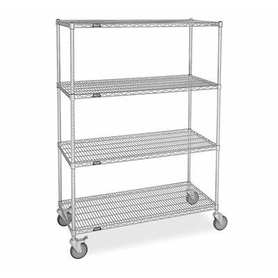 "Mobile Wire Shelving Unit, 48""W x 24""D x 63""H, 4 Shelves, Zinc Plated Finish, Silver"