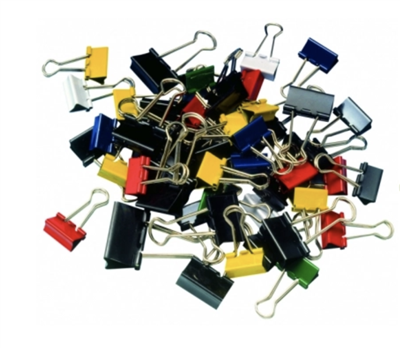 Mauly 215 Binder Clips, Assorted Sizes and Colors, Pack of 50