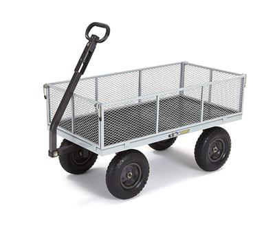 Gorilla Carts Heavy-Duty Steel Utility Cart with Removable Sides, 1000-lbs Capacity, Grey