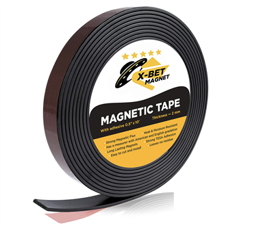 Flexible Magnetic Strip, 1/2 Inch x 10 Feet, Self Adhesive (Pack of 8 Rolls)