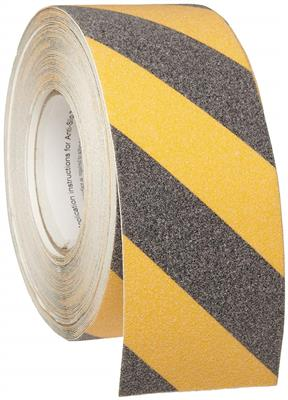 "Brady 60' Length, 3"" Width, B-916 Grit-Coated, Anti-Skid, Polyester Tape, Black And Yellow"