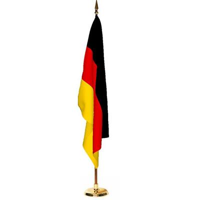 Indoor German Flag, Size 5'x3' (150cm x 90cm), with Wooden Pole and Brass Stand