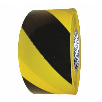 "Barricade Tape, Yellow/Black, 3"" x 500 ft., Horizontal Stripe"