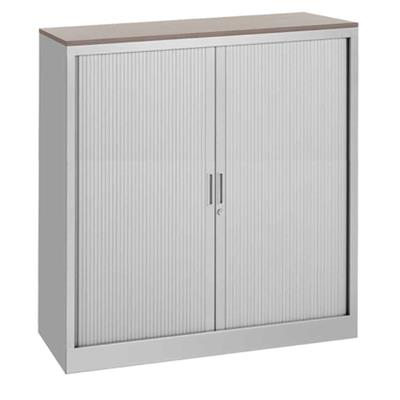 Storage / Filing Cabinet, Aluminium with Maple Top, H135xW100xD43, 2 Shelves