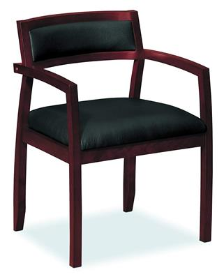 Custom Made Cherry Noha Guest Chair, Leather Seated, with Arms, Mahogany Finish