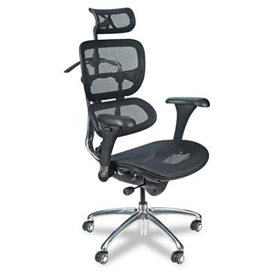 Balt Butterfly Ergonomic Executive Office Chair, All Black Mesh, With Built-in Coat Hander