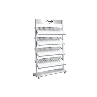 Rico Mobile Folder Rack / Shelving Unit, 4 Shelves, 12 x A4, Gray