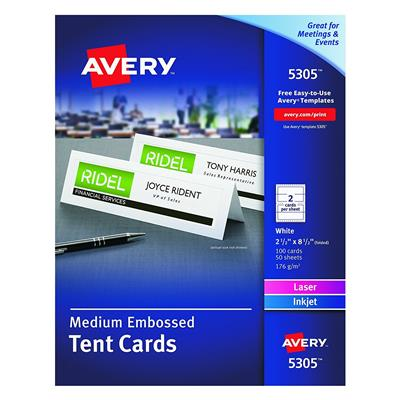 Avery 5305, Medium Embossed Tent Cards, 2 1/2 x 8 1/2 (Pack of 10 Sets)